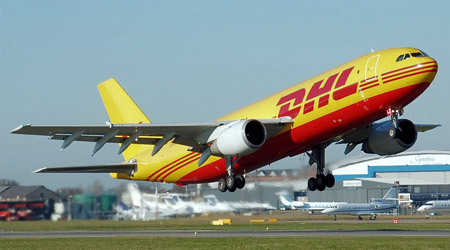 DHL cargo plane. Lots of ornamental fish are shipped that way.
