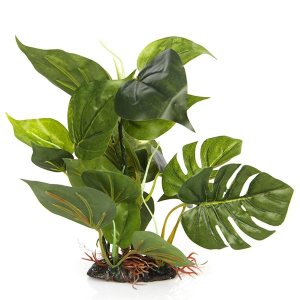 Artificial plastic aquarium plant with broad leaves for allowing fish to get out of line of sight