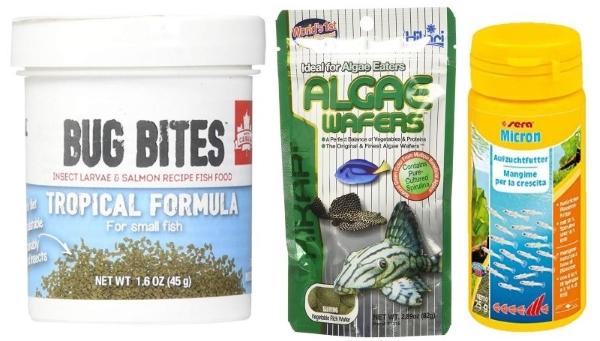 Fluval bug bites, hikari algae wafers, sera micron