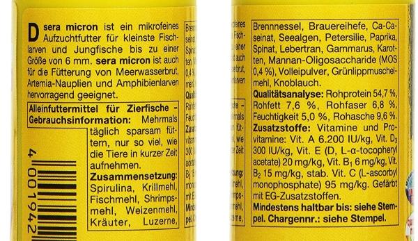 sera micron ingredients list