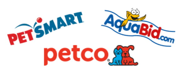 Petsmart, Aquabid, and Petco logos