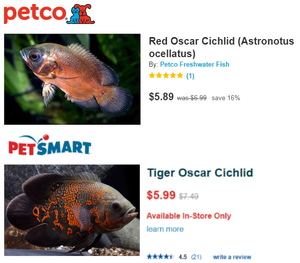 Oscar prices at petsmart and petco