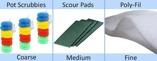 pot scrubbies scour pads and poly fil not the best aquarium filter media but these diy options are acceptable