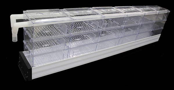 pre-made manufactured commercial overhead trickle filter for indoor aquarium
