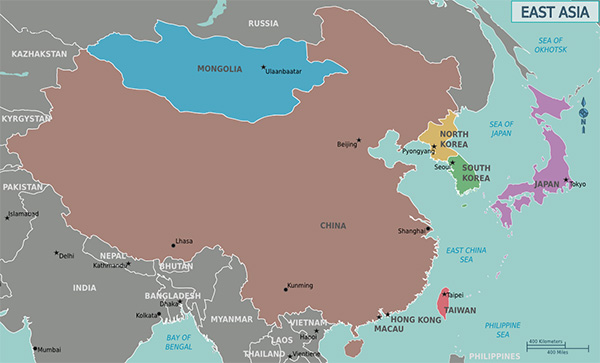 map of east asia, the origin of both goldfish and koi